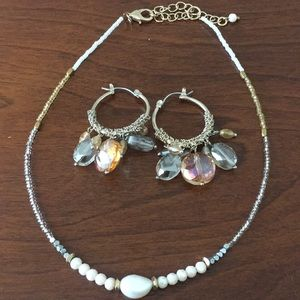 Beaded choker and dangle hoop earrings set